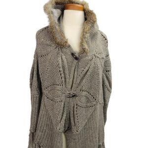 Line Poncho Brown Large Rabbit Fur Trim Hood Knit